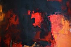 Il mio Inferno - My Hell, tecnica mista su tela strappata, legata e bruciata, 150 x 150 cm, 2018
