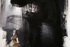 Omaggio a Franz Kline n 1, tecnica mista su tela strappata, bruciata e legata, 100 x 80 cm, 2018