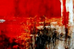 Flames into ashes mixed media on ripped and tied canvas, 40 x 100, 2014
