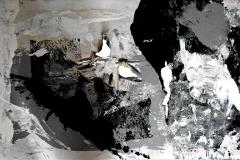 The Ditot's Guernica, tecnica mista su tela strappata, bruciata e legata, 60 x 120 cm, 2016