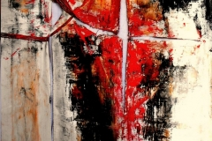 Heretic dream -The Antichrist of the unconscious, 100 x 70 cm, mixed media on ripped and tied canvas, 2014