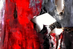 The State against culture, 50 x 100 cm, mixed media on ripped and tied canvas, 2014