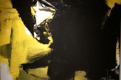 Apocalisse in Giallo, 2017, tecnica mista su tela strappata e legata, 150x150cm