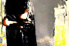 Catrame, tecnica mista su tela strappata, bruciata e legata, 100 x 100 cm, 2016