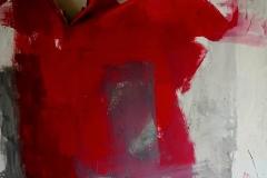 Guerra d'amore, tecnica mista su tela strappata e legata, 150 x 150 cm, 2018