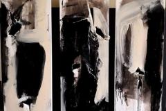 Le tre età dell'anima, 2019, tecnica mista su tela strappata, bruciata e legata, 120x120cm, trittico (2)