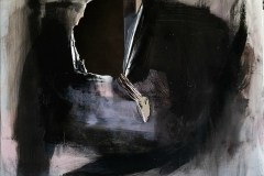 Ossessione, 2020, tecnica mista su tela strappata, bruciata e legata, 90x90 cm