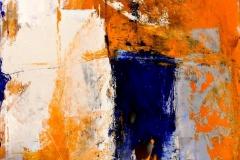 Tracce, tecnica mista su tela strappata, bruciata e legata, 100 x 100 cm, 2016