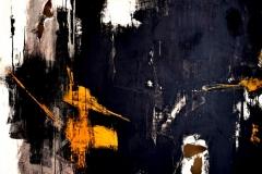 Dialogo in arancione, tecnica mista su tela strappata,legata e bruciata, 150 x 150 cm, 2017