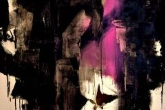 Dialogo in fucsia, tecnica mista su tela strappata,legata e bruciata, 150 x 150 cm, 2017