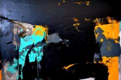 Paesaggio proibito II, tecnica mista su tela strappata e legata, 120 x 160 cm, 2017
