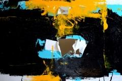 Paesaggio proibito, tecnica mista su tela strappata e legata, 100 x 200 cm, 2017