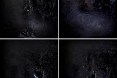 Quadrato Nero, omaggio a Malevic, tecnica mista su tela strappata, legata e bruciata, 180 x 180 cm, 2017