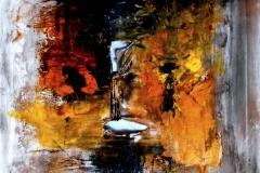 L'inferno devastato dalle fiamme, tecnica mista su tela , 80 x 80 cm, 2014