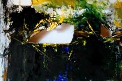 Lo stagno di Narciso, 80x80 cm, misto su tela strappata e legata, 2015 (collezione privata Fondazione Roma Museo)