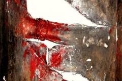 Senza titolo 2, tecnica mista su tela strappata e legata, 2013
