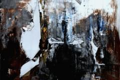 Squarciando il Velo di Maya, 80x80 cm, misto su tela strappata e legata, 2015
