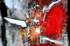 The red carpet of death, tecnica mista su tela, 80 x 80 cm, 2014
