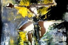 Tribute to Pollock, tecnica mista su tela strappata e legata, 150 x 150, 2015
