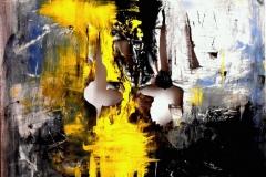 Dialogo segreto tra luce e buio, tecnica mista su tela, 100 x 100 cm, 2014