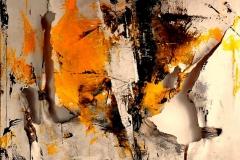 Emptiness, 120x120 cm, misto su tela strappata e legata, 2015