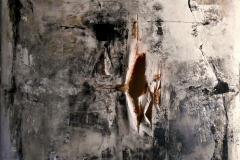 Senza titolo, tecnica mista su tela strappata e legata, 120 x 120 cm, 2016